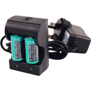 Exposure RCR123A Charger Pack + Rechargeable Batteries