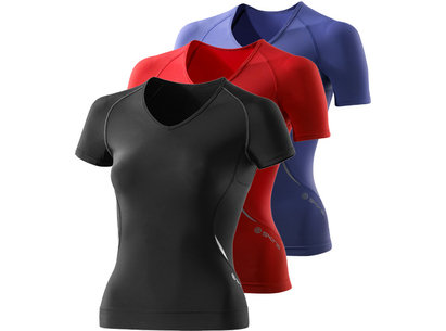 Skins A400 Womens Compression Short Sleeved V Neck Top