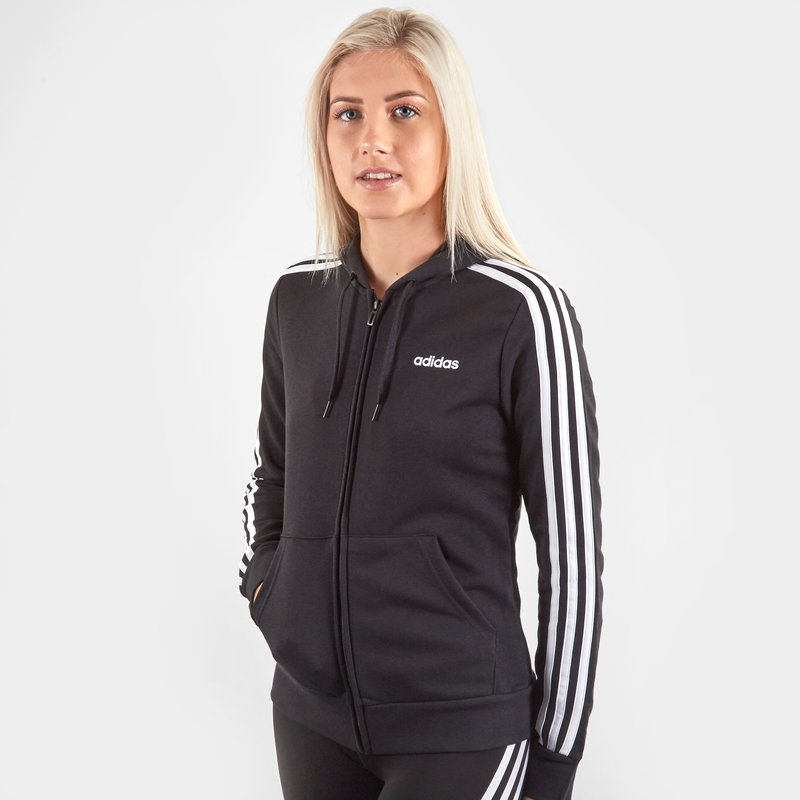 Womens 3 Stripes Full Zip Hoodie Slim